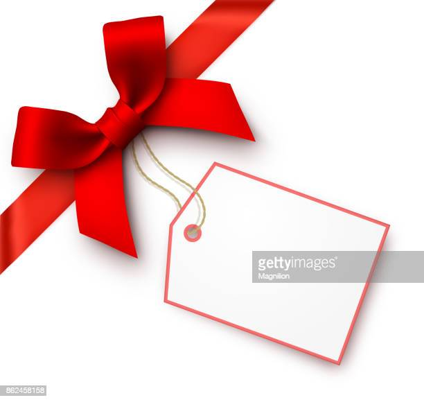 red gift bow with tag - tied bow stock illustrations
