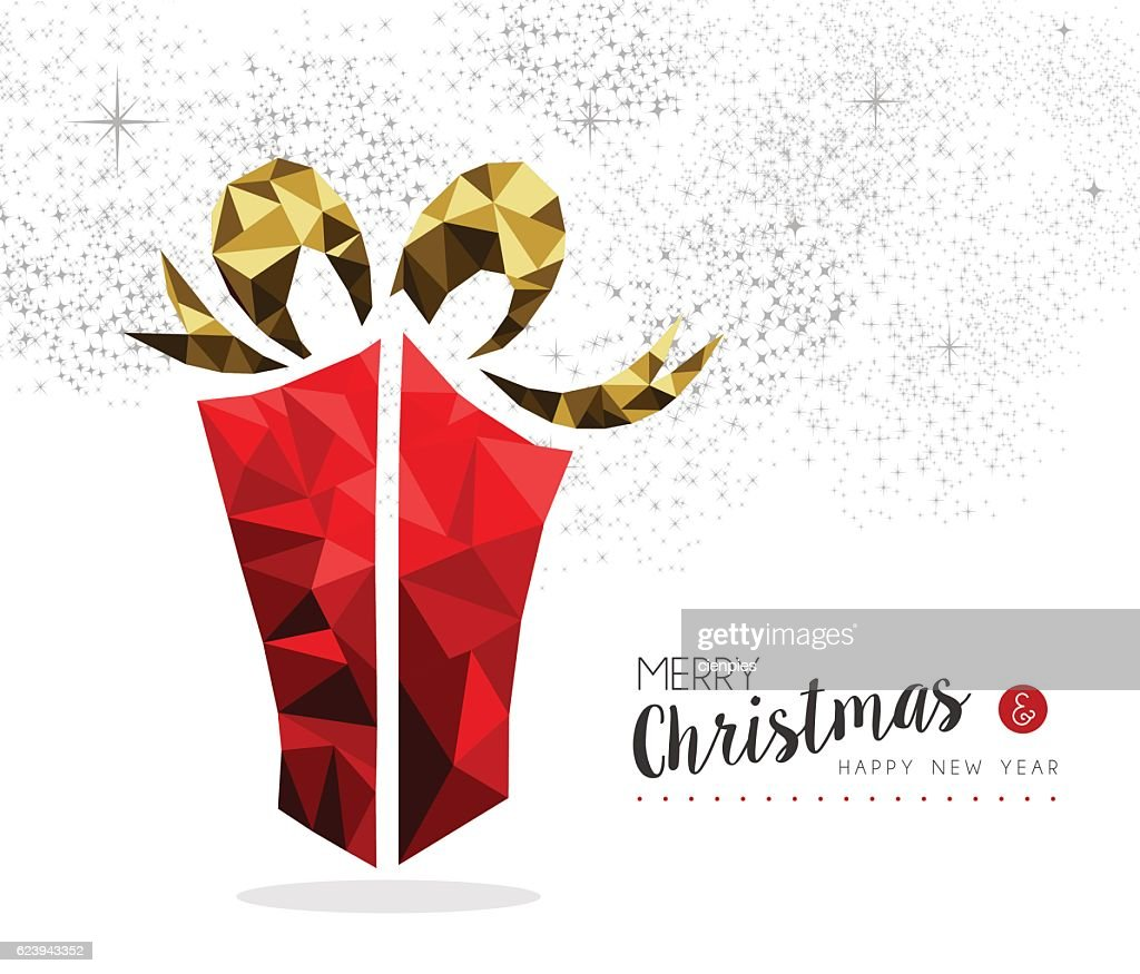 Red Gift Box For Christmas Season Greeting Card Vector Art Getty