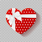 Red gift box isolated on transparent backdrop