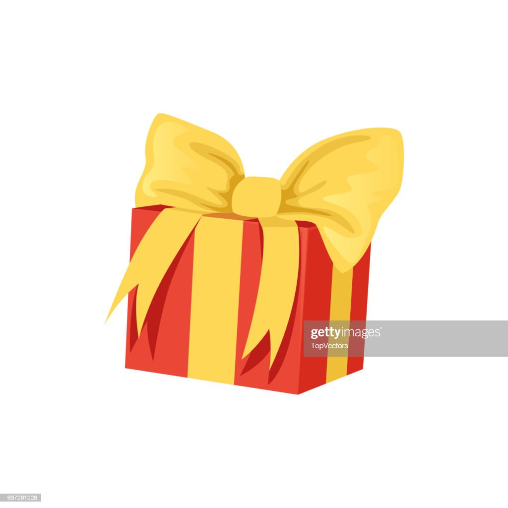 Red gift box with big yellow bow. Happy Birthday theme. Present for holiday. Element for greeting card or banner. Flat vector icon