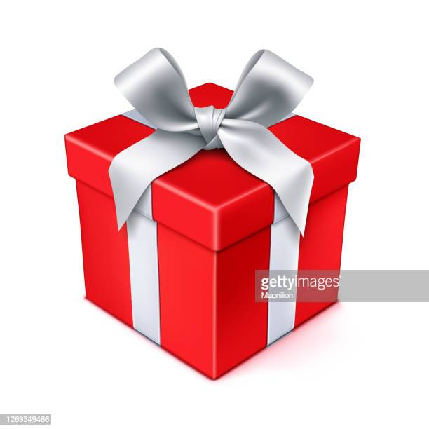 red gift box with silver bow - gift box stock illustrations