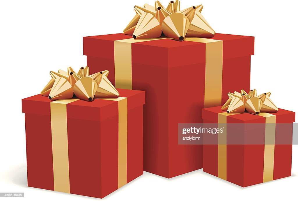 Red gift boxes with gold bows illustration : stock illustration
