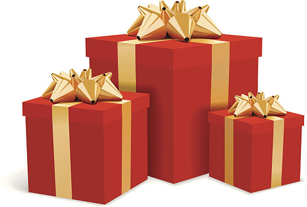 Free christmas present images pictures and royalty free stock red gift boxes with gold bows illustration negle Images