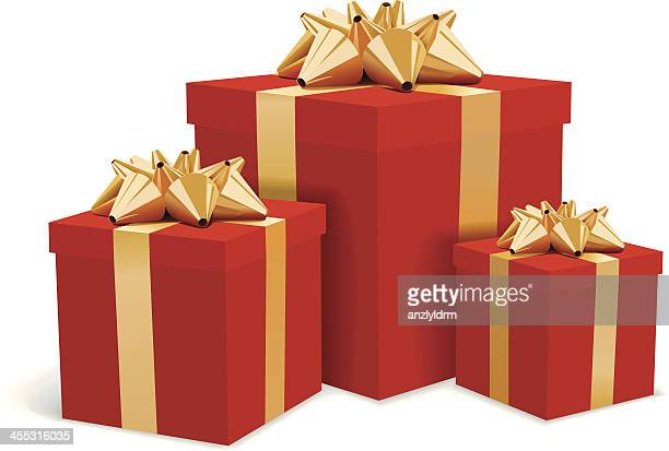 red gift boxes with gold bows illustration - gift stock illustrations