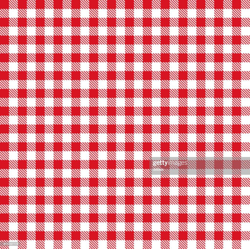 赤いギンガム チェックの布生地パターン : ストックイラストレーション