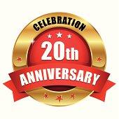 Red gold twenty year anniversary button