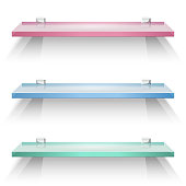 Red, green and blue square glass shelves
