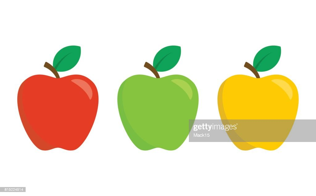 Red, green and yellow apples isolated on white background. Set of vector icons in flat design style