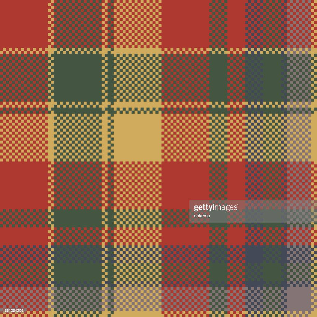 Red green check plaid texture textile seamless pattern