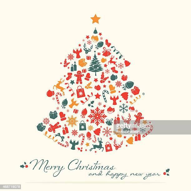 Red grünen Weihnachtsbaum mit text