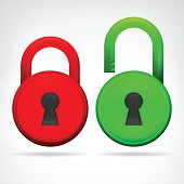 red green circular padlock object design isolated