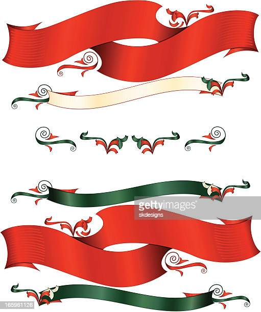 赤、緑、オフホワイトのリボン、装飾模様のクリスマスバナーの設定 - 記念の盾点のイラスト素材/クリップアート素材/マンガ素材/アイコン素材