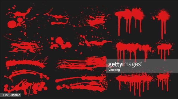 レッドグランジブラシセット - 血液点のイラスト素材/クリップアート素材/マンガ素材/アイコン素材