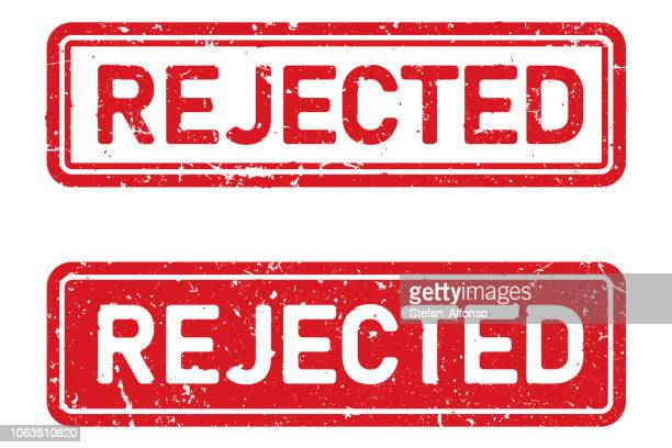 Red, grunge, vector rejected stamp shape on white background