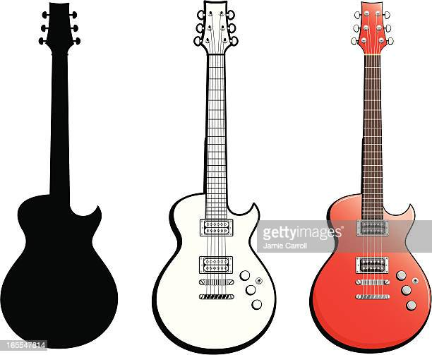 red guitar - electric guitar stock illustrations