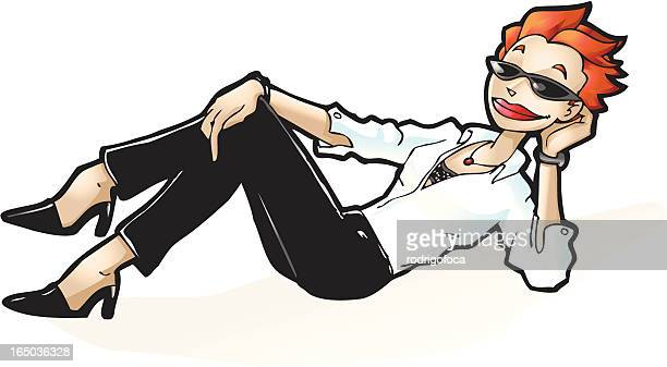 Red Hair Executive Woman With Sunglasses