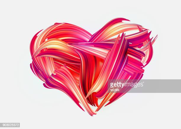 red hand drawn smear of paint - heart shape stock illustrations