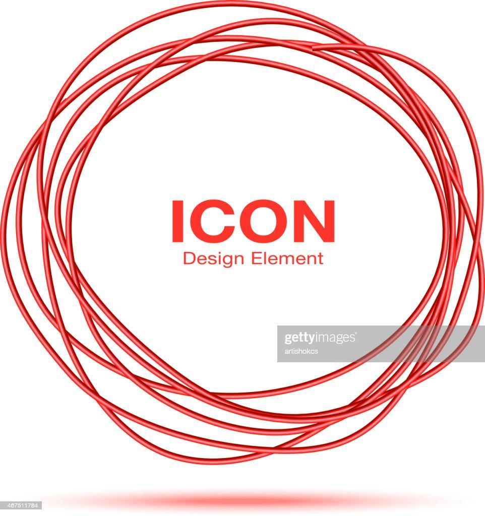 Red Hand Drawn Thin Ware Circle
