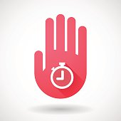Red hand icon with a timer