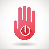 Red hand icon with an off button