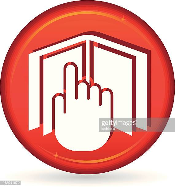 red hand on book icon