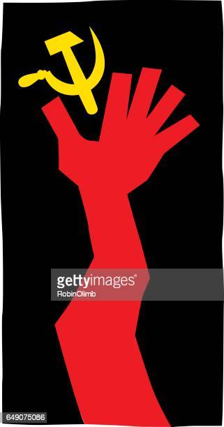 Red Hand Reaching For Hammer And Sickle