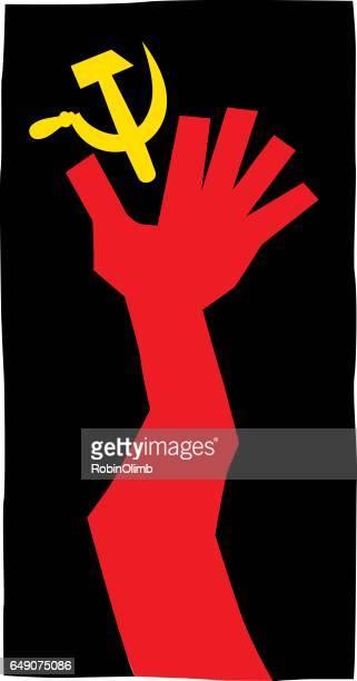 ilustrações, clipart, desenhos animados e ícones de mão vermelha, atingindo para foice e martelo - cultura russa