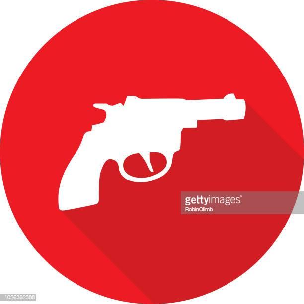 red handgun icon - gun barrel stock illustrations