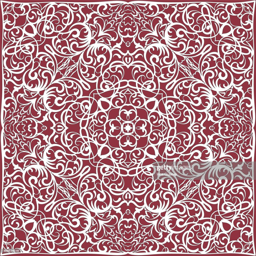 Red handkerchief with white ornament
