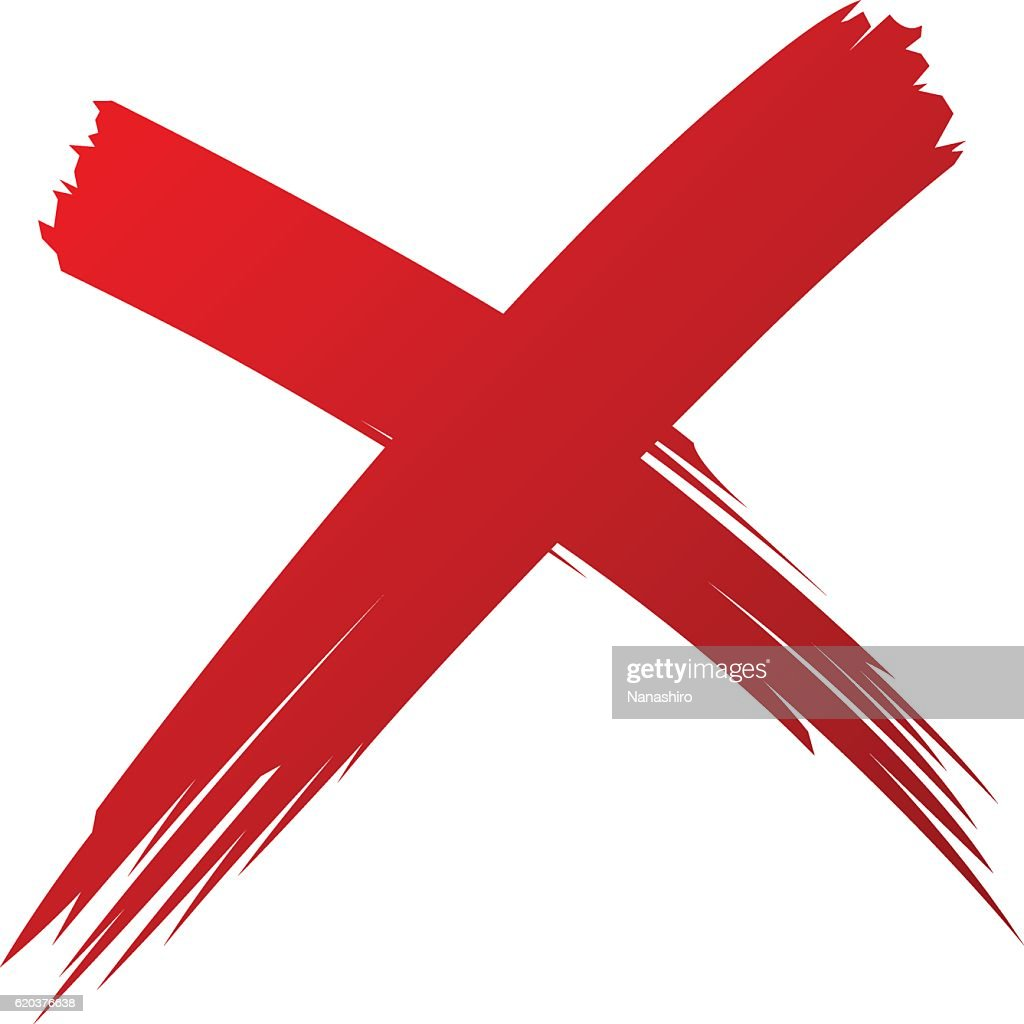 X Red handwritten brush isolated