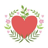 Red Hart Framed With Plants And Flowers Vector Sticker, Template St. Valentines Day Message Element Missing Text
