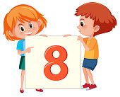 Red headed kids holding number eight