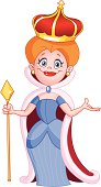A red headed queen in a blue dress with a cape