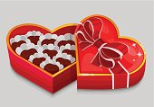 Red heart candy box