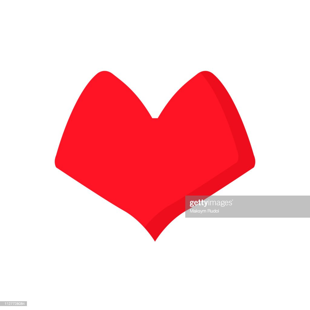 red heart design icon flat isolated on white background