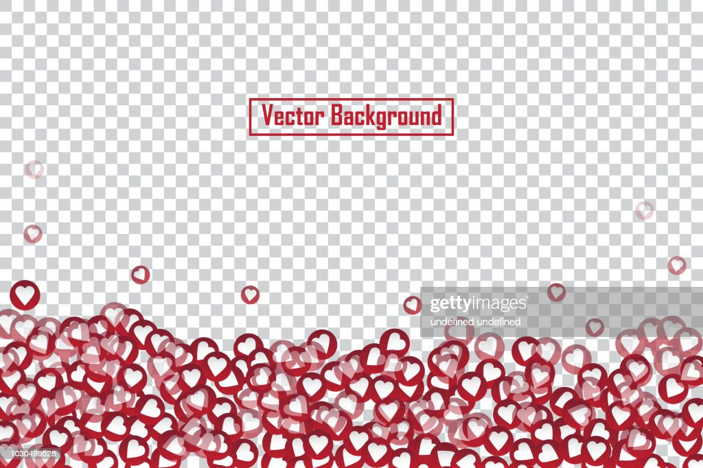 Red heart floating web buttons isolated on transparent background