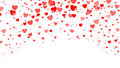 Red Heart halftone Valentine`s day background. Red hearts on white. Vector illustration