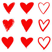 Red Heart Hand Drawn Icon Set.