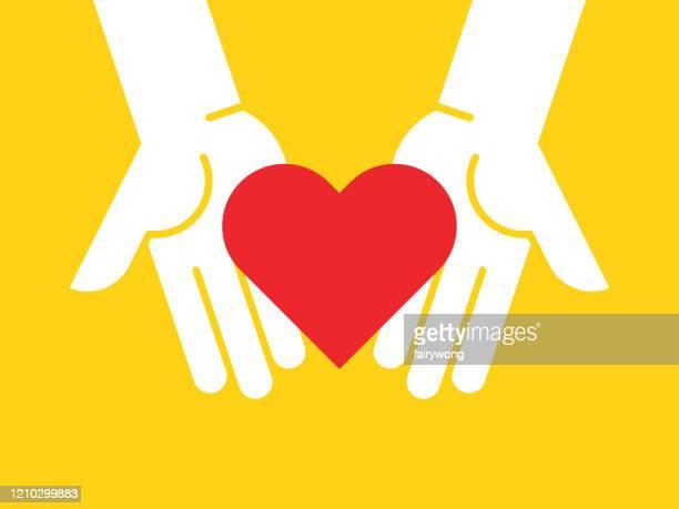 手に抱く赤い心臓 - クラウドソーシング点のイラスト素材/クリップアート素材/マンガ素材/アイコン素材