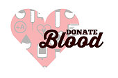 red heart medical icons donate blood