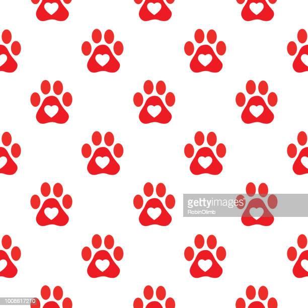 ilustrações de stock, clip art, desenhos animados e ícones de red heart paw prints seamless pattern - pegadadepatadeanimal