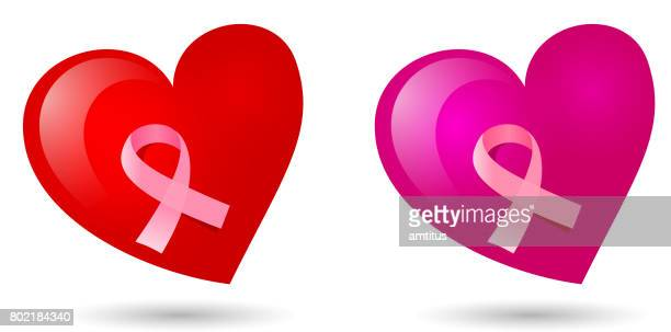 red heart pink ribbon - body conscious stock illustrations, clip art, cartoons, & icons