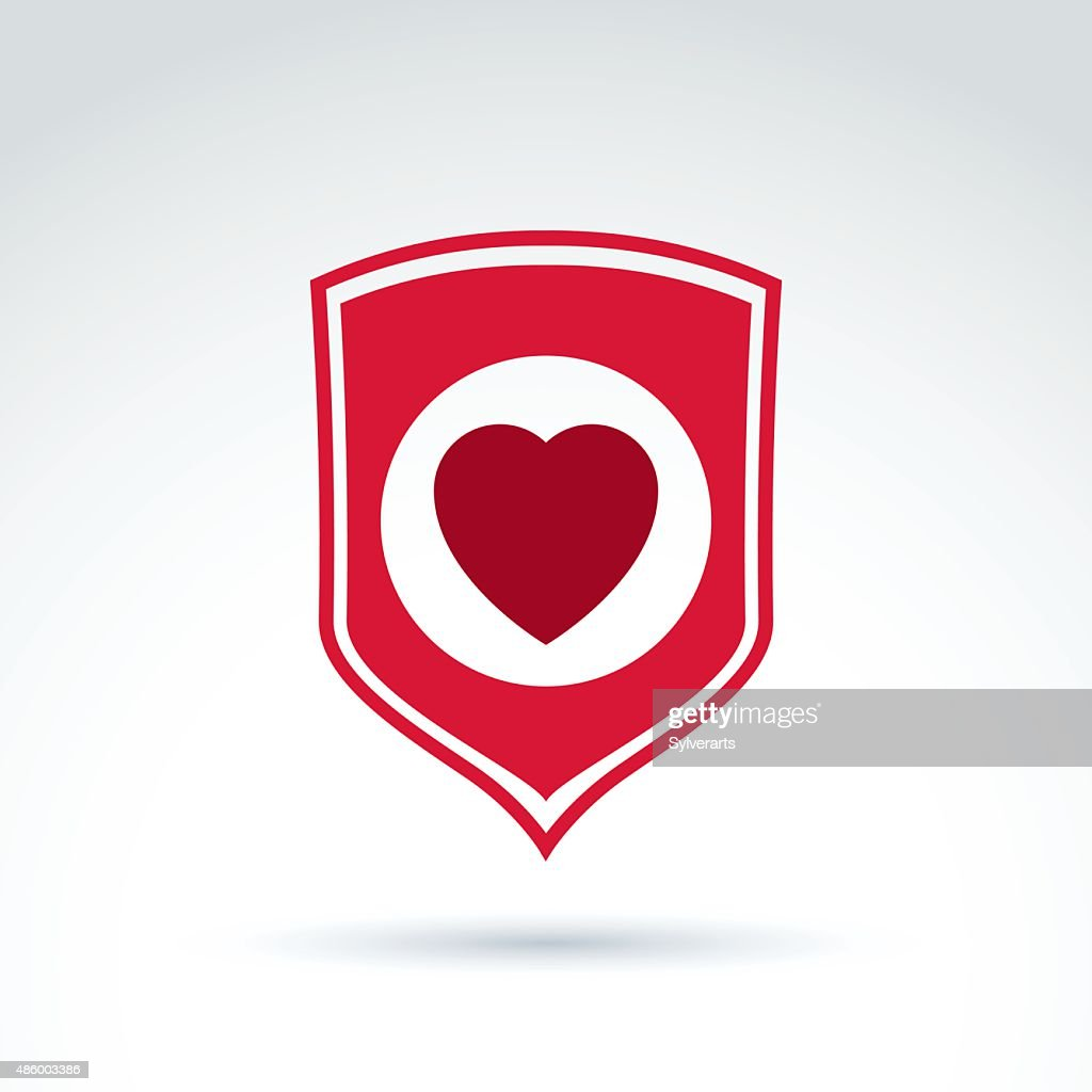 Red heart placed on shield. Vector society donation symbol
