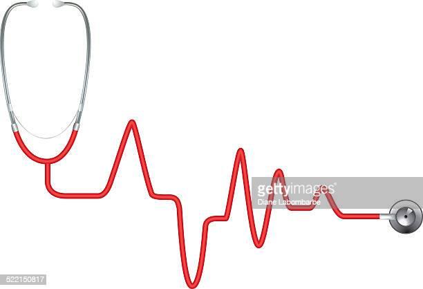 ilustrações, clipart, desenhos animados e ícones de red batimento cardíaco estetoscópio-ekg - estetoscópio