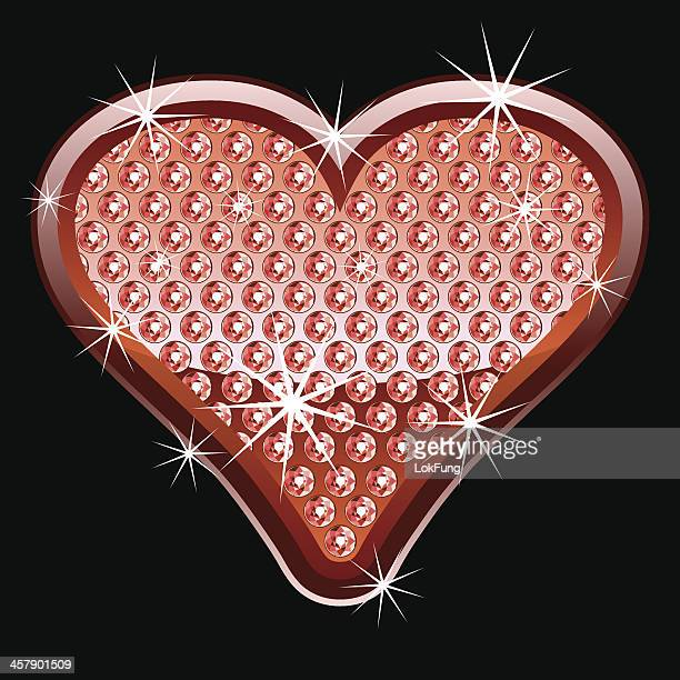 red heart shape with diamonds - bling bling stock illustrations, clip art, cartoons, & icons
