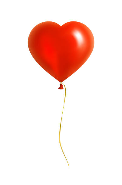 red heart shaped balloon with yellow ribbon - heart shape stock illustrations