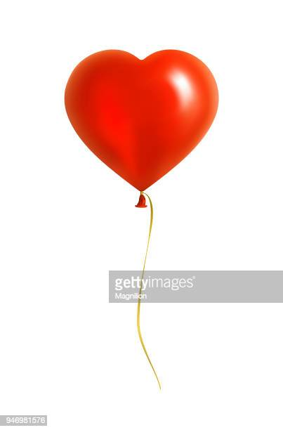 red heart shaped balloon with yellow ribbon - white background stock illustrations
