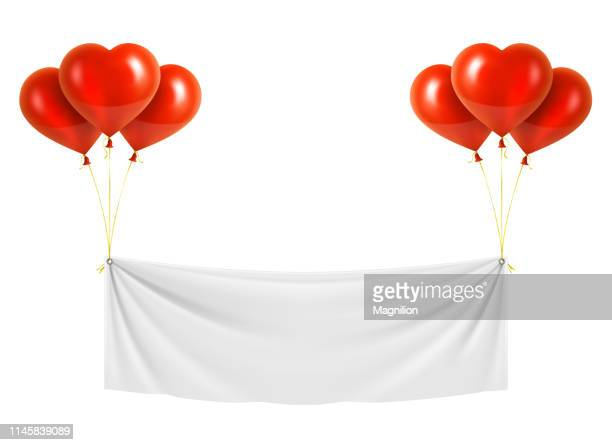 Red Heart Shaped Balloons with White Vinyl Banner