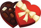 A red, heart shaped chocolate box
