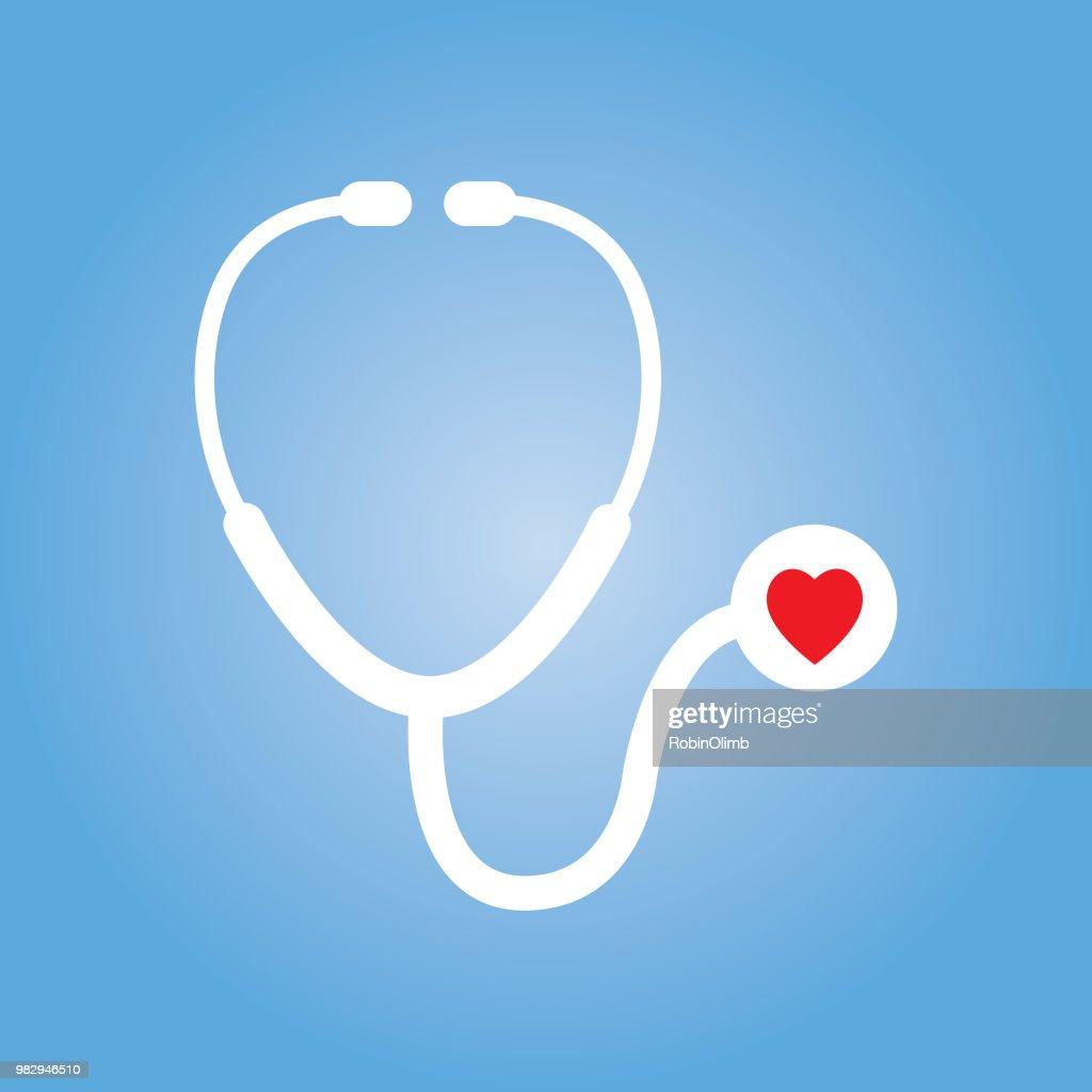 Ícone de estetoscópio de coração vermelho : Ilustração